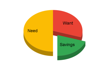 Pie chart visualizing the 50/30/20 budget rule